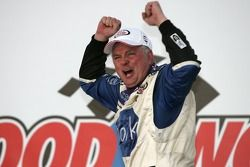Victory lane: race winner Frank Kimmel celebrates