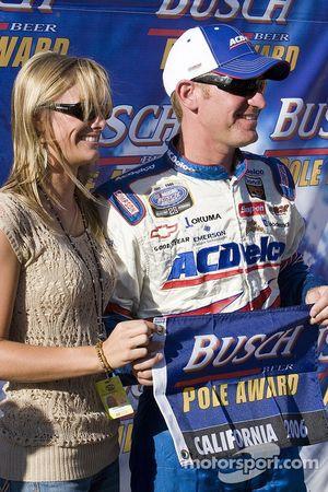 Clint Bowyer celebrates the Busch pole