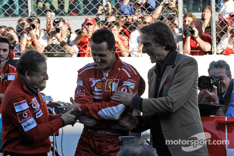 Jean Todt, Michael Schumacher and Luca di Montezemolo