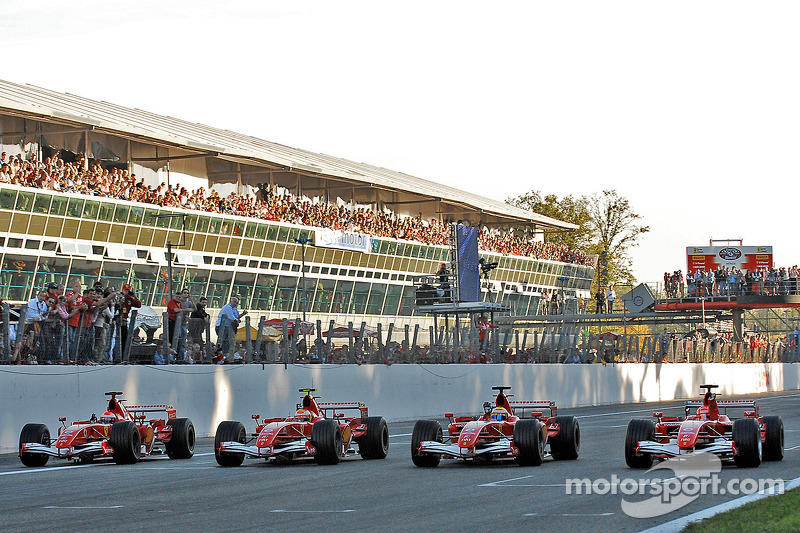 Felipe Massa, Michael Schumacher, Marc Gene and Luca Badoer