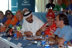 Conférence de presse : le Vice-Président de la FIA pour le sport et le pilote 14 fois champion Middle East RallyMohamed Ben Sulayem, Stéphane Peterhansel et Carlos Sainz