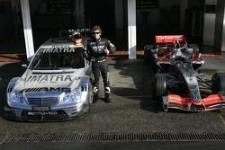 Valentino Rossi with a Merceds-Benz AMG DTM car and a McLaren Mercedes MP4-20