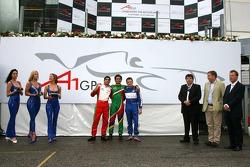 Top 3 finishers of race 1: Adrian Zaugg (1st, center), Salvador Duranand Nicolas Lapierre