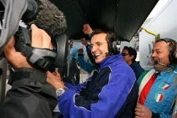 Piercarlo Ghinzani celebrates victory
