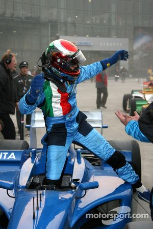 Race winner Enrico Toccacelo celebrates