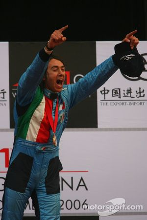 Podium: race winner Enrico Toccacelo celebrates