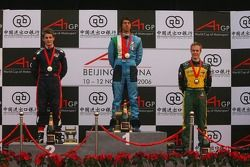 Podium: race winner Enrico Toccacelo with Oliver Jarvis and Karl Reindler