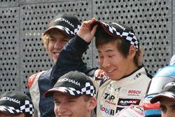 F3 drivers photoshoot: Sebastian Vettel, Kamui Kobayashi, Maro Engel