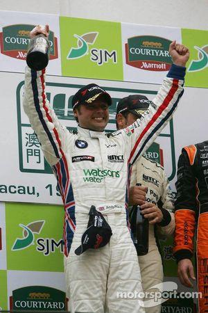Podium: 2006 WTCC champion Andy Priaulx celebrates