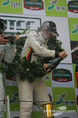 Podium: champagne for Jorg Muller