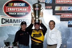 Championship victory lane: 2006 NASCAR Craftsman Truck Series champion Todd Bodine celebrates