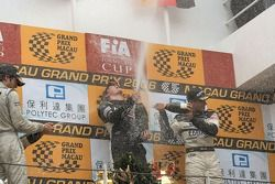 Podium: race winner Mike Conway with Richard Antinucci and Adrian Sutil