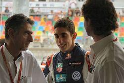 Sebastien Buemi with his Father and Trevor Carlin