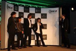 Press conference: Sébastien Loeb, Michèle Mouton and Fredrik Johnsson on stage