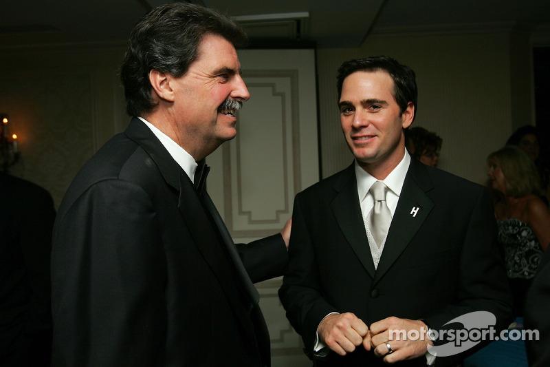 NASCAR President Mike Helton congratulates 2006 NASCAR NEXTEL Cup Series champion Jimmie Johnson