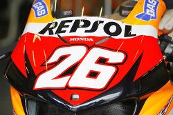 Detail of the bike of Dani Pedrosa