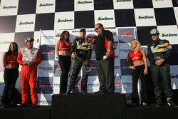 Podium: race winner Andy Pilgrim with Tommy Archer and Ron Fellows