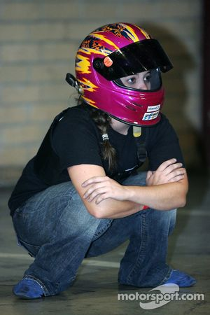 A young female kart racer