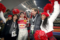 Race of Champions winner Mattias Ekström celebrates with Michèle Mouton and Fredrik Johnsson