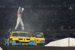 Race of Champions winner Mattias Ekström celebrates