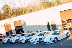 The Tafel Racing Grand Am Rolex Series Porsche GT3 Cup and ALMS Porsche 911 GT3 RSR cars