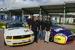 Patrick Dempsey, Romeo Kapudija and friends pose with the Hyper Sport Mustang GT