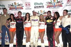 O'Reilly's Kevin Greven (far left) is joined by the top four finishers fromFriday night's Oklahoma Dodge Dealers Qualifying feature including (from left) Mat Neely (3rd), Dave Darland (1st), Tony Stewart (2nd) and Gary Altig (4th)