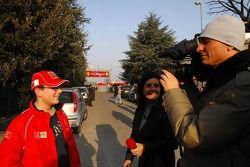 TV crew interviews tifosi