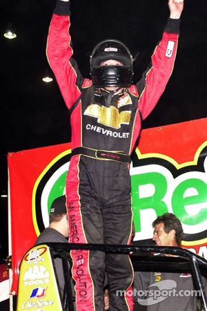 Tony Stewart celebrates his victory in Saturday night's 21st Annual O'Reilly Chili Bowl Midget Nationals finale