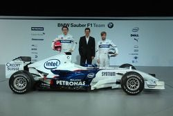 Robert Kubica, Dr. Mario Theissen and Nick Heidfeld