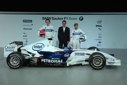 Robert Kubica, Dr. Mario Theissen and Nick Heidfeld