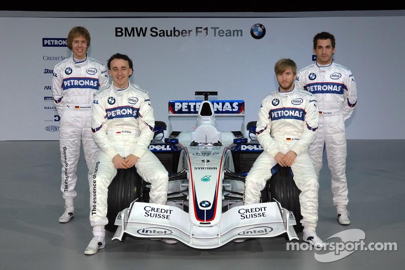 Sebastian Vettel; Nick Heidfeld; Robert Kubica; und Timo Glock, BMW Sauber