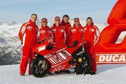 Claudio Domenicali, Loris Capirossi, Casey Stoner, Federico Minoli, Vittoriano Guareschi and Livio S