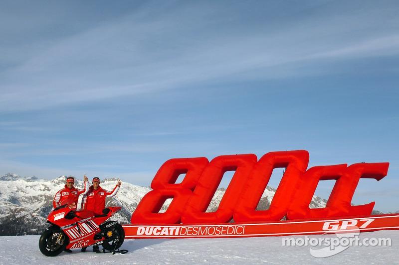 Casey Stoner and Loris Capirossi with the Ducati Desmosedici GP7