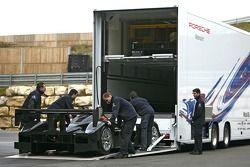Dyson Racing Porsche RS Spyder leaves the Porsche factory for Poughkeepsie, NY