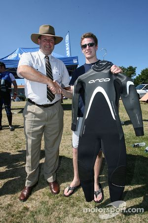 Robbie Kerr wins the jetski drivers rac, Robbie is pictured with the mayor of Taupo