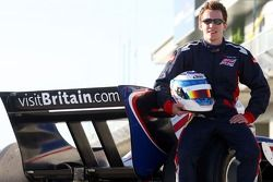 Robbie Kerr with new team A1 Team Great Britain business partner Visit Britain