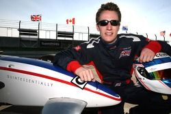 Robbie Kerr with new A1 Team Great Britain business partner Quintessentially logo on the car