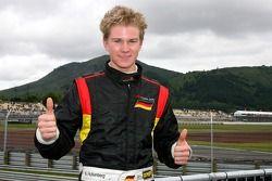 Pole winner Nico Hulkenberg celebrates