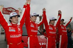 Podium: Winners Sébastien Loeb and Daniel Elena celebrate with Daniel Sordo and Marc Marti