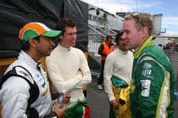 Narain Karthikeyan with Alan van der Merwe and Richard Lyons