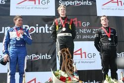 Podium: race winner Nico Hulkenberg with Loic Duval and Jonny Reid
