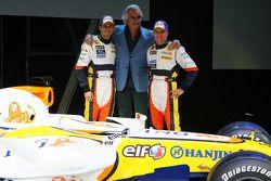Flavio Briatore; Giancarlo Fisichella; und Heikki Kovalainen, Renault