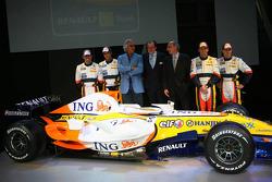 Ricardo Zonta, Nelson A. Piquet, Flavio Briatore, Michel Tilmant, Chairman of the Executive Board of