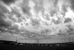 Race action under a menacing sky
