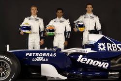 Nico Rosberg, Narain Karthikeyan ve Alexander Wurz pose ve Williams FW29