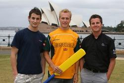 Oliver Jarvis, Karl Reindler and Jonny Reid with a cricket bat