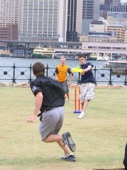 Karl Reindler plays cricket with Oliver Jarvis and Jonny Reid