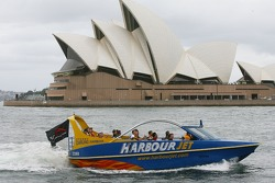 A1GP drivers on a Sydney Harbour jet boat