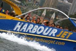 A1GP drivers on a Sydney Harbour jet boat: Karl Reindler